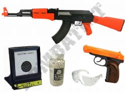 Russian Military BB Gun Bundle Spring AK47 & Makarov Replica + Pellets & Target Set 2 Tone Orange